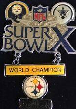 Large 2-piece Super Bowl X World Champion Steelers Pin