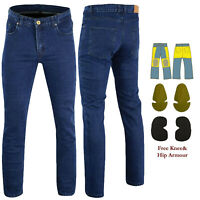 Men Motorcycle Jeans Reinforced Jeans Made With DuPont™ Kevlar® Biker Pants Blue