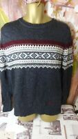 Men's SUPERDRY Vintage Nordic Knit Jumper Grey Size L  Woolly Pullover winter DI