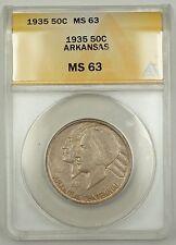 1935 Arkansas Silver Half Dollar Coin 50c ANACS MS-63 Toned