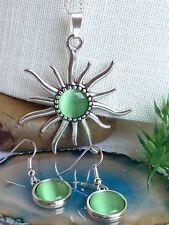 schöne große Sonne Halskette + Ohrringe Katzenauge Grün Silber  *Set*