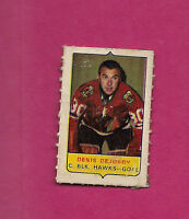 RARE 1969-70 OPC  FOUR  ON ONE CHICAGO HAWKS DENIS DEJORDY GOALIE  MINI  CARD