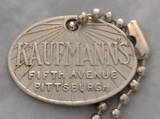 Vintage Charge Plate Coin Tag: KAUFMANN'S FIFTH AVE; Pittsburgh PA