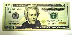 $20 Dollar Bill U.S Federal Reserve *Star* Note*  ⭐Triple 444⭐