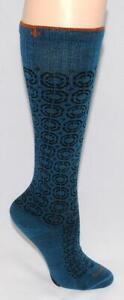 SOCKWELL - Teal Blue & Black - Wool Blend - Warm Long SOCKS  sz S / M *NEW