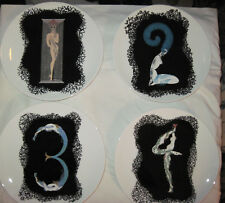 """Erte The Numerals 9"""" Plates Mikasa Set of 4 Bone China (1 thru 4) ~ 1986 *NEW*"""
