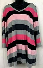 IC International Concepts Womens 2X Sweater V Neck Striped Silk Pink Black Gray