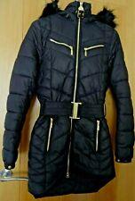 BARBOUR LONGLINE FIBREDOWN BLACK COAT WITH FUR TRIMMED HOOD -  SIZE 8 - NEW
