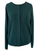 M&S Classic Jade Green Cardigan Soft Knit Button Up Preppy Stretchy Boho Size 16