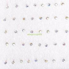 1 Box Mixed Color Rhinestone Ear Studs Stud Pin Earrings 20 Pairs For Women