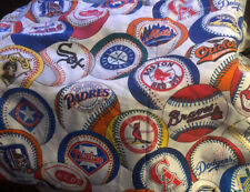 VINTAGE MLB BASEBALL TWIN FLAT SHEET & PILLOWCASE SET