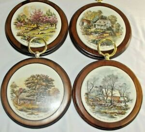 Lot of 4 CURRIER & IVES Four Seasons WOODEN Wall Hanging Art DECOR Vintage Gold
