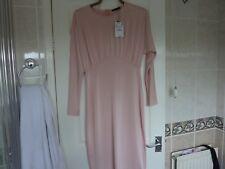Zara Nude Pink Kimono Sleeve Bodycon Slinky Midi Dress Size M