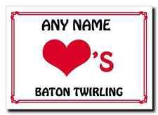 Love Heart Baton Twirling Personalised Jumbo Magnet
