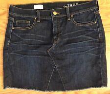 Gap 1969 Women's Size 27 Denim Mini Skirt Blue Jean Dark Wash Raw Edge Hem