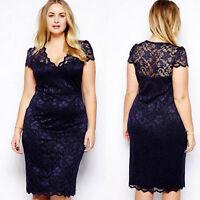Ritzy Plus Size Women Floral Lace Bodycon Midi Dress V-Neck Pencil DressesTT