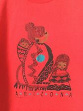 Vintage Usa Made 1990 Hanes Red Arizona T Shirt Mens L Native Mother and Child