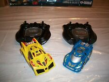 2 Rare Air Hogs Spinmaster Zero Gravity R/C Micro Cars in Blue & Yellow  Bundle