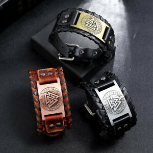 Punk Mens Women Wide Genuine Leather Bracelet Wristband Bangle Cuff Adjustable