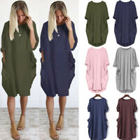 Women's Casual Shirt Mini Dress Ladies Solid Long Sleeve Loose Tunic Tops Blouse