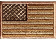 "(B20) 3"" x 2"" SUBDUED BROWN AMERICAN FLAG iron on patch (2904) Biker"