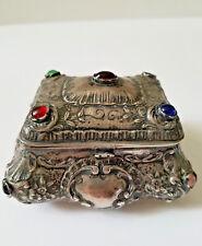 Antique 800 Silver Repousse Dresser Snuff Bishops Box