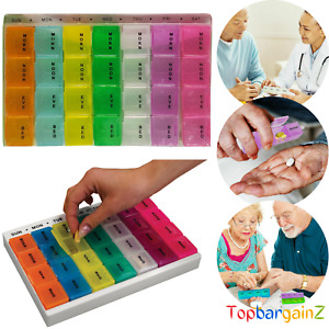 7 Day Pill Box Organiser Medicine Tablet Dispencer Coloured Storage Weekly Daily