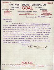 1905 West Shore Terminal Co Charleston SC - J H Devereux Jr Letter Head History