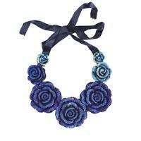 Funkelnde Halskette Rose Strass Statement Blogger Blau