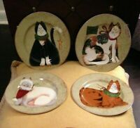 "Whimsical Christmas Cat Plates- Set of 4 Sakura Holiday 8"" Salad / Dessert"
