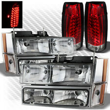 For 88-93 GMC/Chevy C/K Truck Headlights Set + R/C Philips-LED Tail Lights