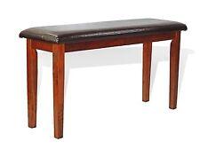 Dinning Living Bench Chair Padded Seat Dark Walnut Finish