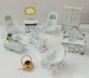 Vintage Die Cast Metal Dollhouse Furniture 9 Pieces The Little Mattel READ BELOW