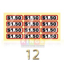 12PK GLOSSY SLIDE DECAL $1.50 For GREENWALD Wascomat, Ipso, Huebsch, 00-9104-25