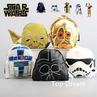 Star Wars Yoda Stormtrooper Darth Vader C-3PO R2 D2 Plush Wallet Coin Purse Bag