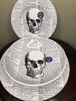 2 Royal Stafford Skull Scripts Halloween Dinner Plates, Salad Plates, Bowls NEW