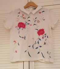Topshop offwhite-crepe retro-style embroidered blouse Peter Pan collar size 8 GC