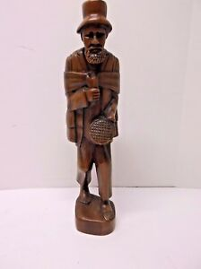 """Vintage Hand Carved Old Man With Beggar Bowl Wood Sculpture 18"""" tall"""
