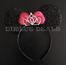 Minnie Mouse Ears BIG Sparkly Shiny Pretty Tiara Crown Black Pink Bow Headband