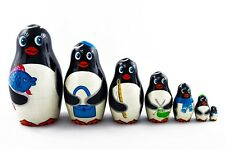 Matryoshka Russian Nesting Dolls Babushka Penguin Family Penguins 7 Pcs