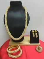 Bollywood Indian Fashion Gold Plated Pearl Beads Combo Jewelry Bangles Ring Set