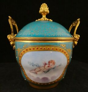 """18th c. French Sevres Porcelain Covered Bowl/Pot w/Cherub & Jewels. 4 5/8"""" t.  ."""