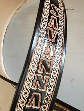 """CUSTOM HANDMADE LEATHER GUITAR STRAP PERSONALIZED WITH YOUR NAME  2 1/2"""" Wide"""