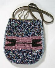 1890s Native American Arapaho Indian Bead Decorated Hide Pouch / Beaded Bag