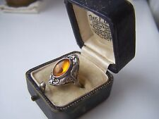 Preciosa Vintage recargado plata esterlina sólida miel ámbar Anillo Tamaño L 5 3/4 Rara