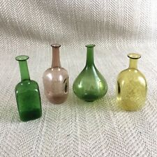 4 Vintage Miniature Glass Bottles Pink yellow green Perfume Apothecary Bottle