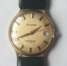 Accurist - Shockmaster 21 Jewels Men's Watch 9ct Gold Vintage