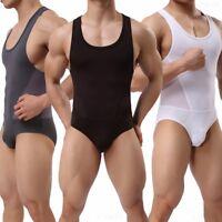 Men's Mesh Fitness Sports Leotard Body Shaping Freestyle Wrestling Bodysuit S-XL
