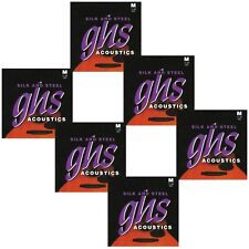 6-Pack GHS 350 Silk & Steel Medium Silver-Plated Acoustic Guitar Strings (11-48)