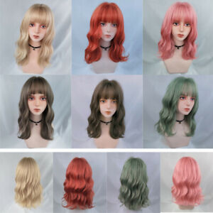 Womens Short Curly Hair Wavy Wigs Air bangs Party Cosplay Fashion Nature Wig H
